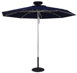 ILLUMISHADE Solar Powered LED Lighted Market Umbrella 9 ft.