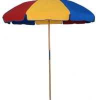 Wood Beach Umbrella 7.5 ft. Special – Fiberglass Ribs – With Button