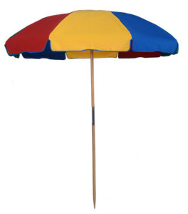 7 1/2 ft. Wood Beach Umbrella - Fiberglass Ribs - With Button