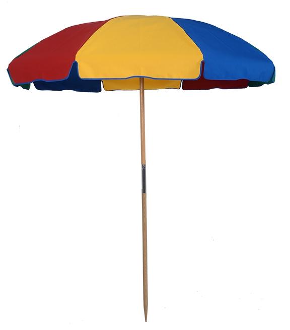 Wood Beach Umbrella 7.5 ft. Special – Fiberglass Ribs – With Button