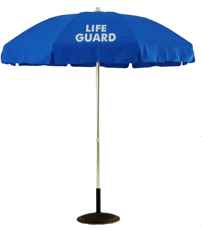 6 1/2 Ft. Aluminum Pop-Up Lifeguard Logo Umbrella - No Tilt (Flat Bottom Pole)