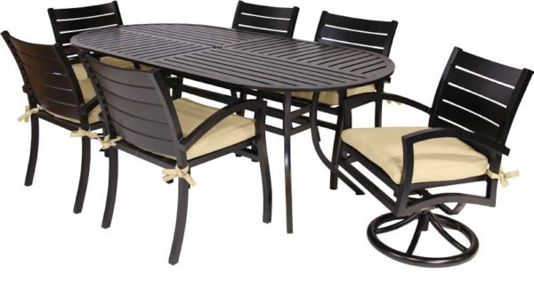 7 Pc. Patio Dining Furniture Set w/ Motion Chairs (Fremont Collection)