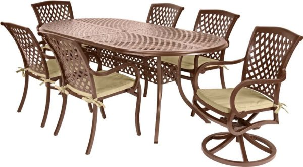 7 Pc. Patio Dining Furniture Set w/ Motion Chairs (Wellington Collection)