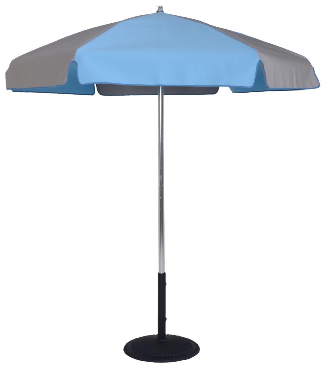 6 5 Ft Aluminum Pop Up Steel Rib Push On Tilt Umbrella Flat Bottom