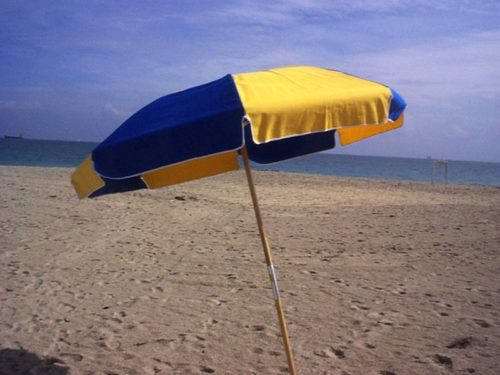 7.5 ft. Wood Beach Umbrella - Steel Ribs - No Button
